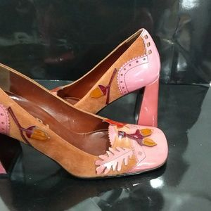 Prada pink brown patent leather chunky heel shoes